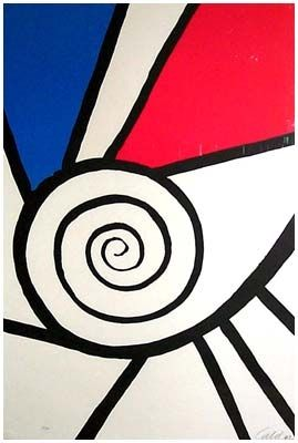 Lithograph Calder - Spirale rouge et Bleu (1969)