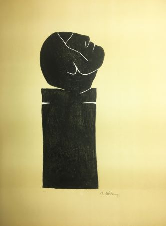 Lithograph Ubac - STÈLE TÊTE LEVÉE . Lithograpie originale signée au crayon (1982).