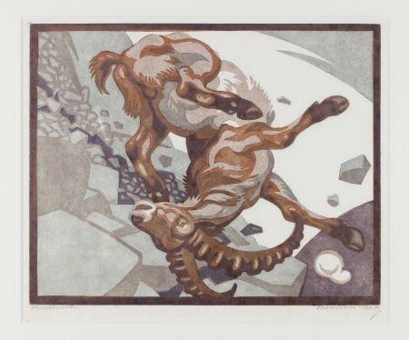 Linocut Bresslern-Roth - Stürzender Steinbock (Falling Ibex)