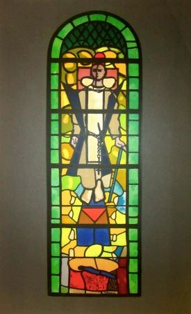 Lithograph Braque - Stained glass window at Church of Saint Dominique, Varengeville
