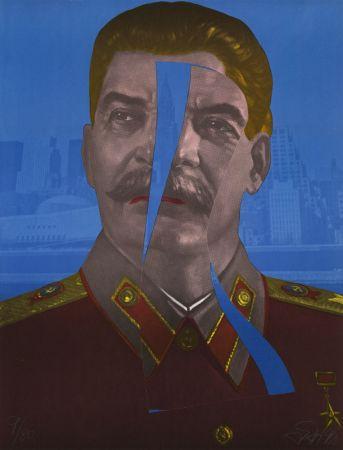 Linocut Erro - Staline in New York