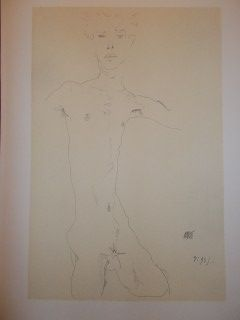 Lithograph Schiele - Standing male nude 1912