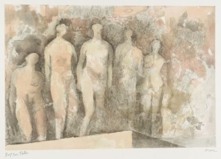 Lithograph Moore - Standing Nudes