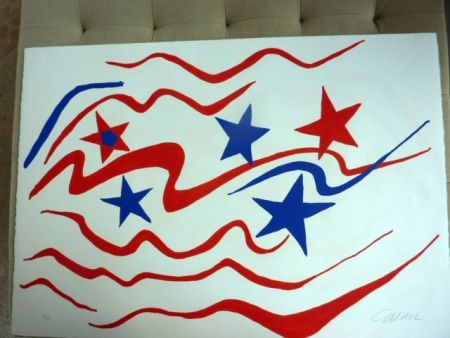 Lithograph Calder - Stars and Stripes