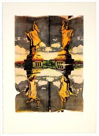 Lithograph Bury - Statue de la liberté