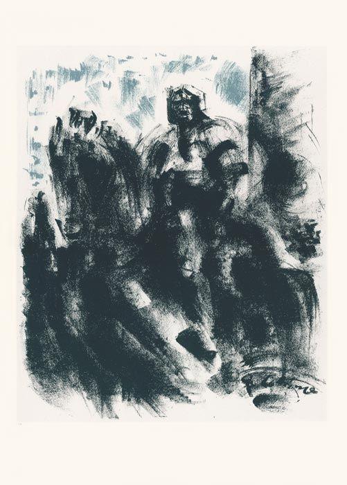 Lithograph Masson - Statue du Colleoni, la nuit (Voyage à Venise)