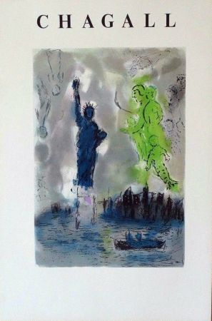 Lithograph Chagall - Statue Of Liberty