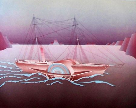 Etching And Aquatint Folon - Steamboat