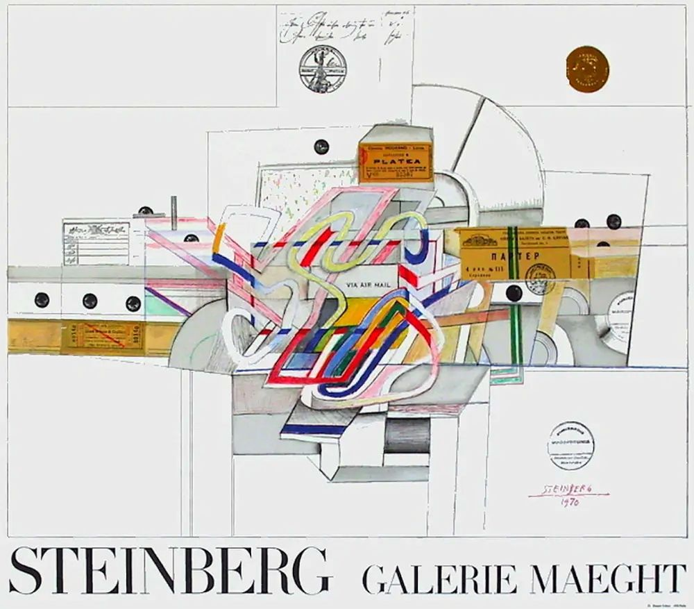 Poster Steinberg - STEINBERG 1970. Galerie Maeght. Affiche en lithographie.