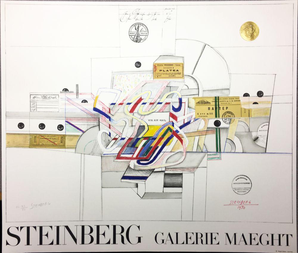 Lithograph Steinberg - STEINBERG 1970. Galerie Maeght. Lithographie signée par l'artiste.