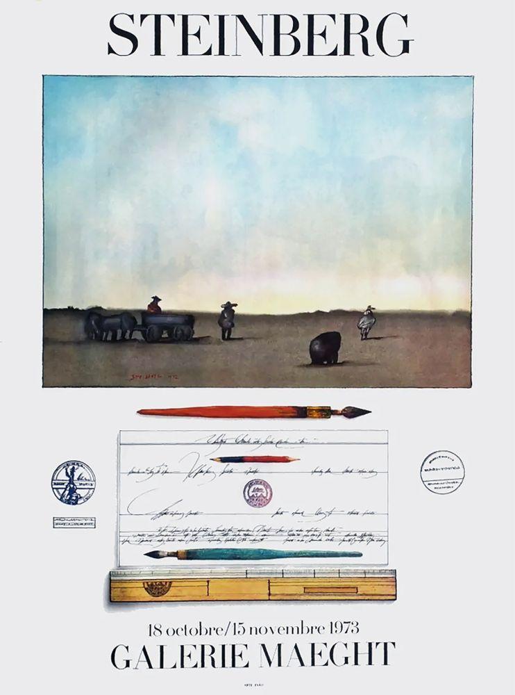 Poster Steinberg - STEINBERG 1973. Exposition à la Galerie Maeght