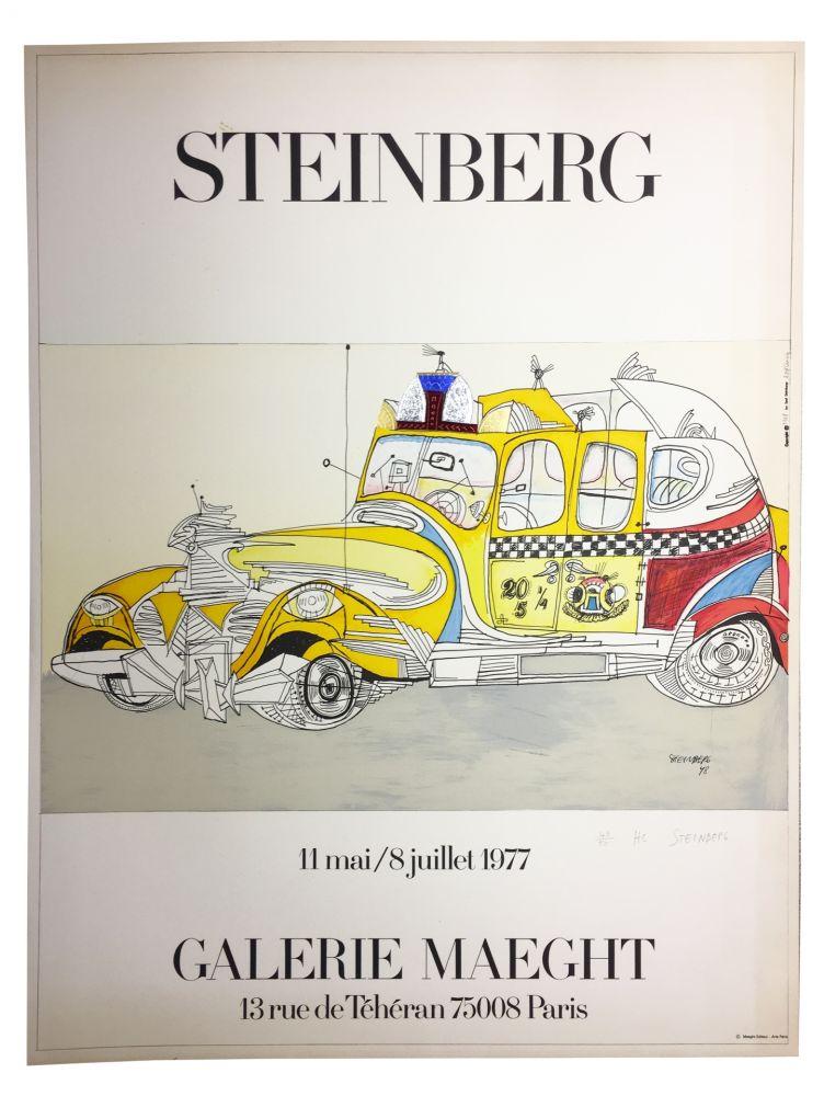 Lithograph Steinberg - STEINBERG 1977. TAXI. Galerie Maeght. Épreuve de luxe signée.