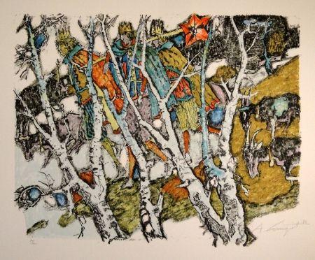Lithograph Carigiet - Sternsinger  (Die Drei Könige hinter Birken)