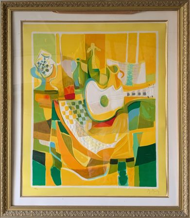 Etching And Aquatint Mouly - Still Life in Yellow with Guitar