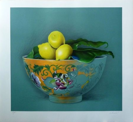 Lithograph Donadini - Still Life with Lemons
