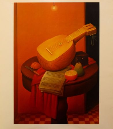 Lithograph Botero - Still Life with Mandoline