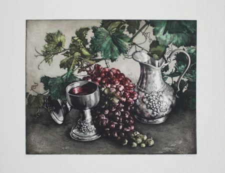 Etching And Aquatint Rusch - Stilleben mit Wein / Still Life with Wine