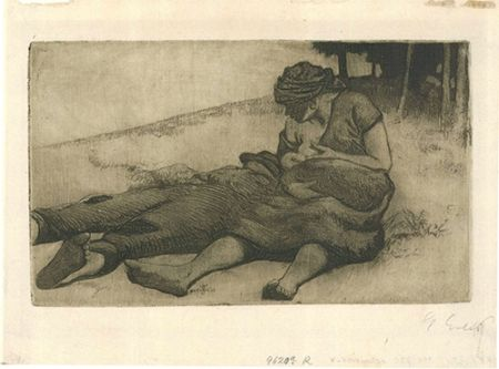 Etching And Aquatint Erler - Stillende Frau