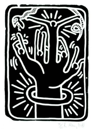 Lithograph Haring - Stones  #1