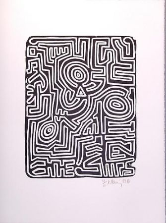 Lithograph Haring - Stones 3