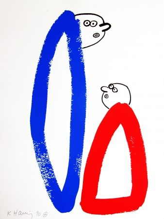 Lithograph Haring - Story of Red & Blue #14