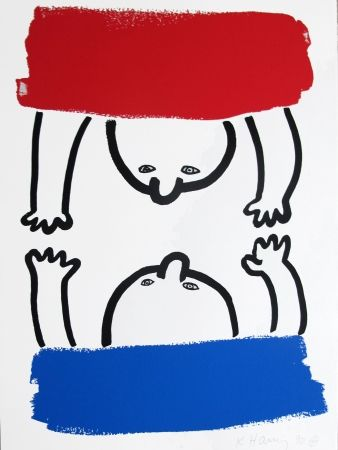 Lithograph Haring - Story Of Red & Blue #15