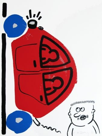 Lithograph Haring - Story of Red & Blue #16