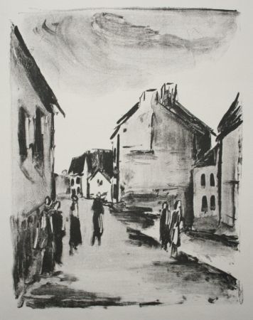 Lithograph Vlaminck - Street Scene