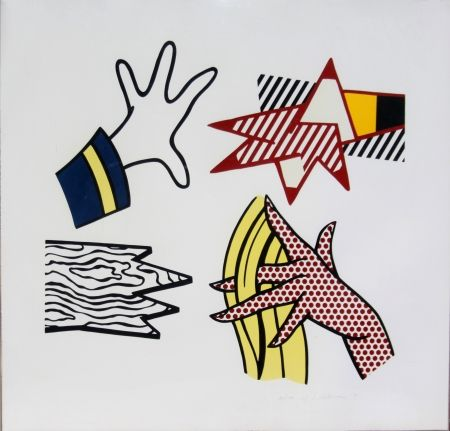 Lithograph Lichtenstein - Study of Hands