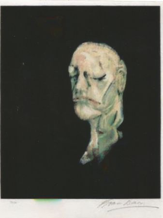Lithograph Bacon - Study portrait after the life mask of William Blake