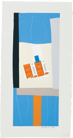 Lithograph Motherwell - Summer Light series: Harvest, with Orange Stripe