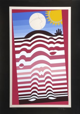 Screenprint Vasarely - Sunbather