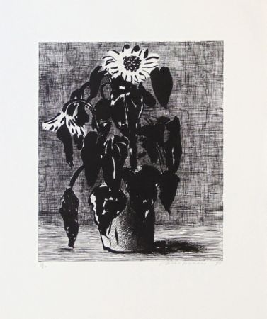 Etching And Aquatint Hockney - Sunflowers I