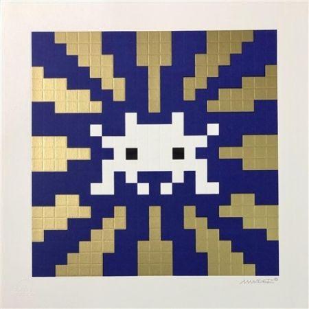 Screenprint Space Invader - Sunset (Gold & Blue)