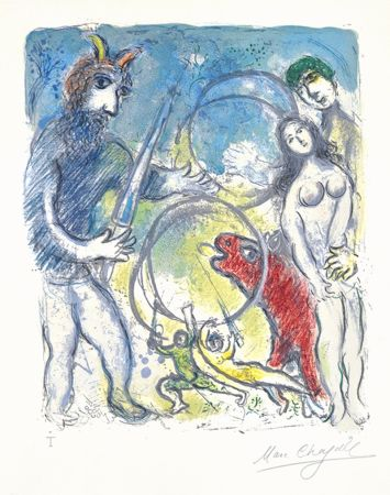 Lithograph Chagall - Sur la Terre des Dieux (In the Land of the Gods): Anacreon