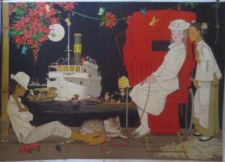 Lithograph Noyer - Sur le port