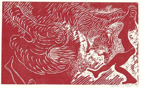 Linocut Höckelmann - Surferin (Rot)
