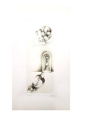 Lithograph Deux - Surréalisme Gris VII