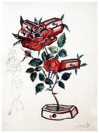 Drypoint Dali - Surrealistic Flowers, 539, Rosa e morte floriscens