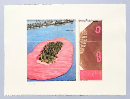 Lithograph Christo - 'Surrounded islands, project for Biscane Bay'
