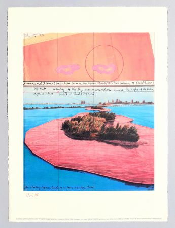 Lithograph Christo - Surrounded islands, project for Biscane Bay