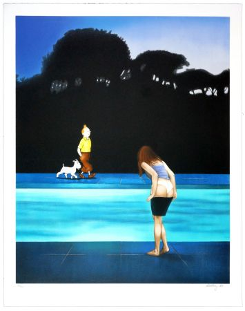 Lithograph Ahlberg - Swimming Pool