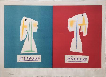 Lithograph Picasso - SYLVETTE DE PROFIL. Une des rarissimes épreuves signées par Picasso (1954).