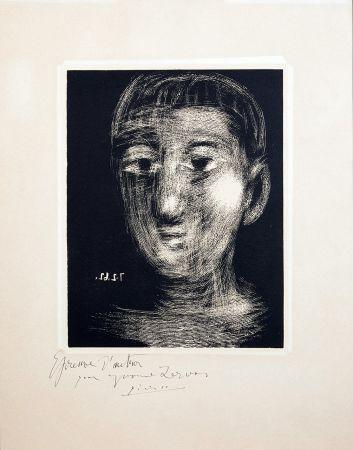Linocut Picasso - TÊTE DE GARCON (III). Linogravure. 1962.