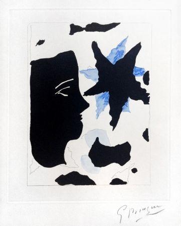 Etching And Aquatint Braque - Téte En Profil E L'Étoile (Head In Profile And Star) From Georges Braque – Nouvelles Sculptures Et Plaque Graveés, 1960