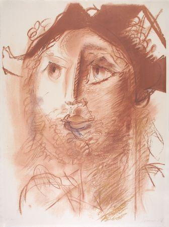 Lithograph Somville - Tête d'Arlequin - SEPIA