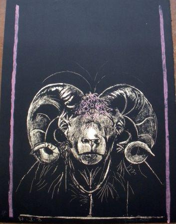 Lithograph Sutherland - Tête de bèllier (de face)