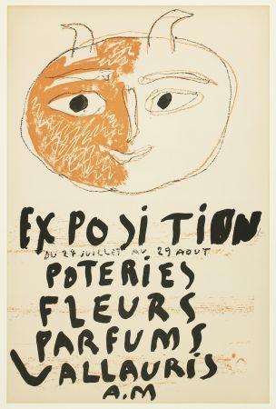 Lithograph Picasso - Tête de Faune (Exposition Poteries Fleurs Parfums Vallauris A.M)