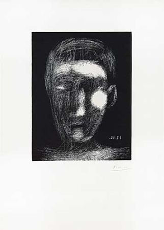 Linocut Picasso - Tête de garçon