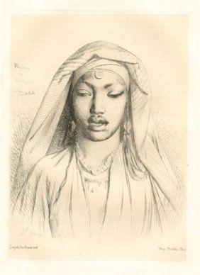 Etching Gérôme - Tête de negresse du Hedjaz
